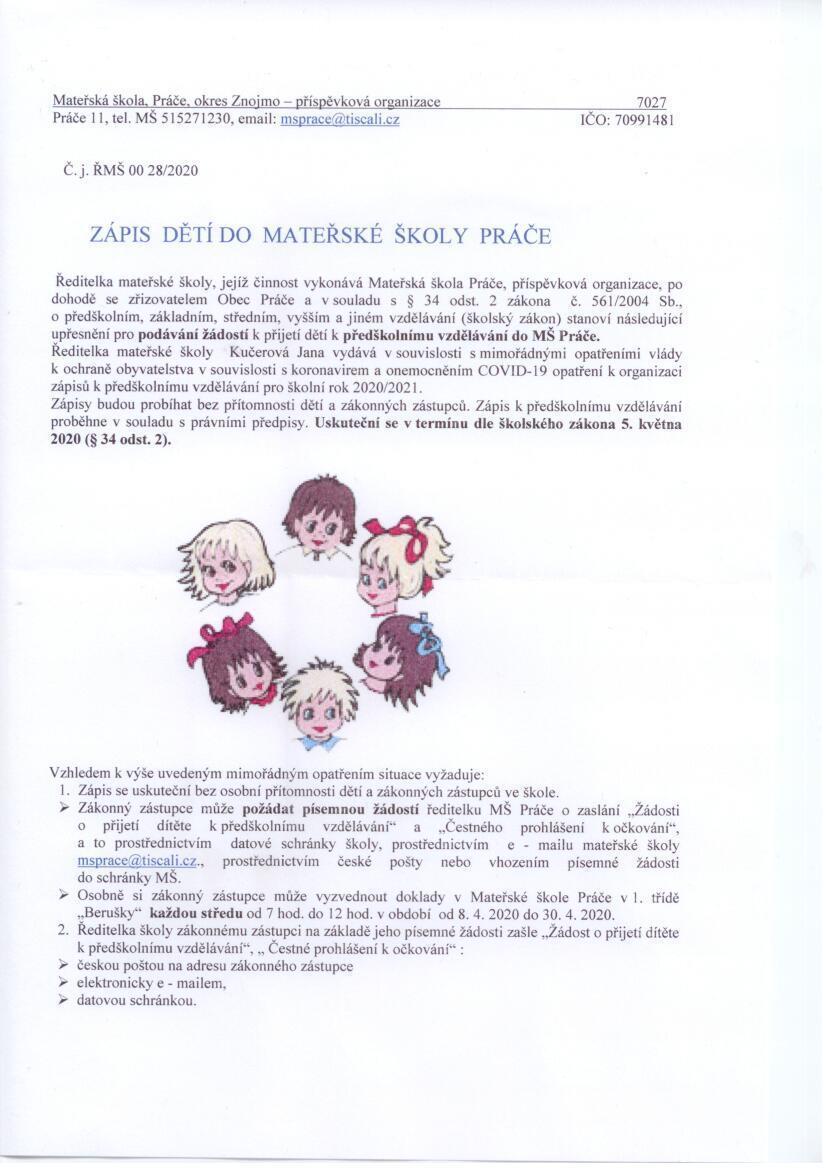 Zápis dětí do MŠ Práče.1