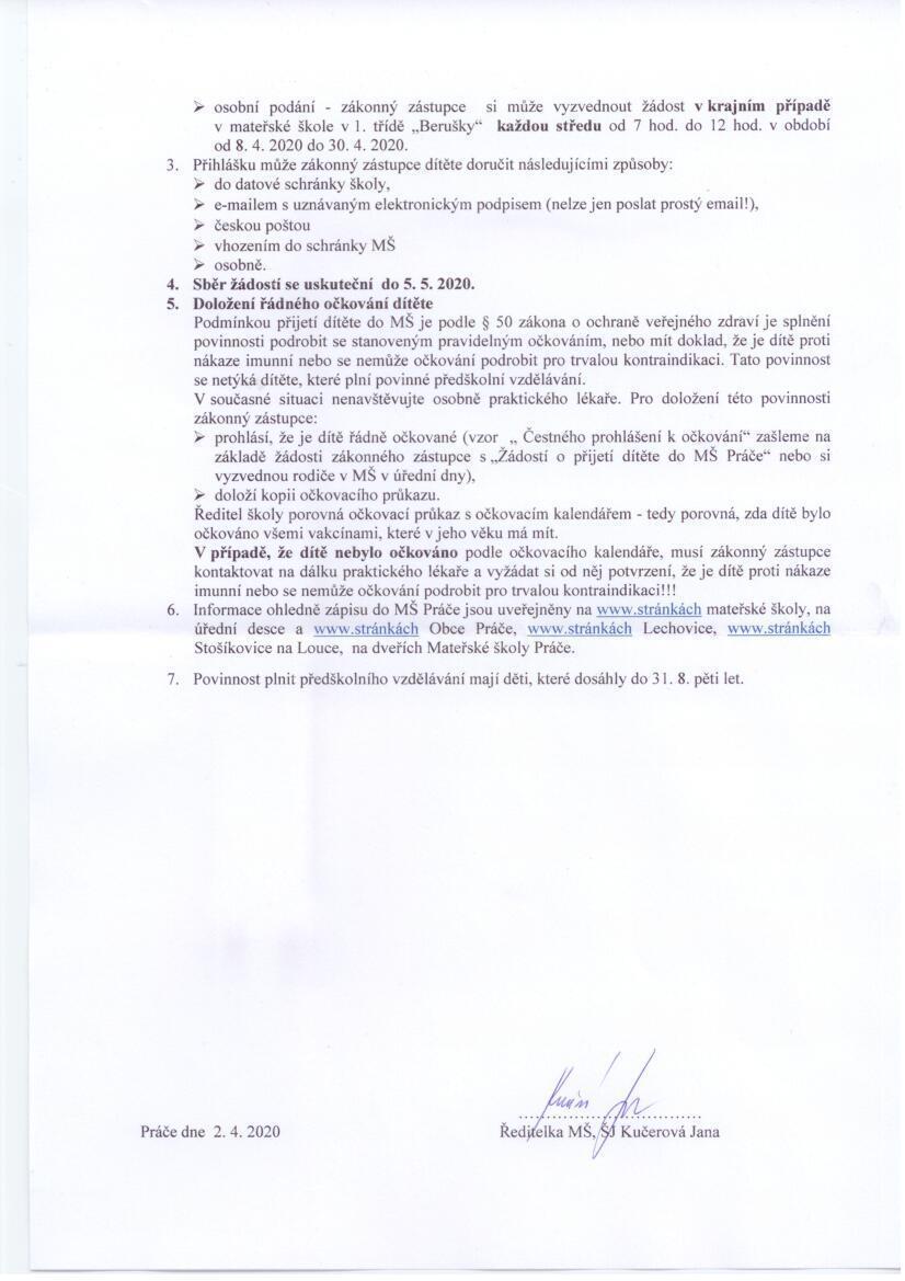 Zápis dětí do MŠ Práče.2